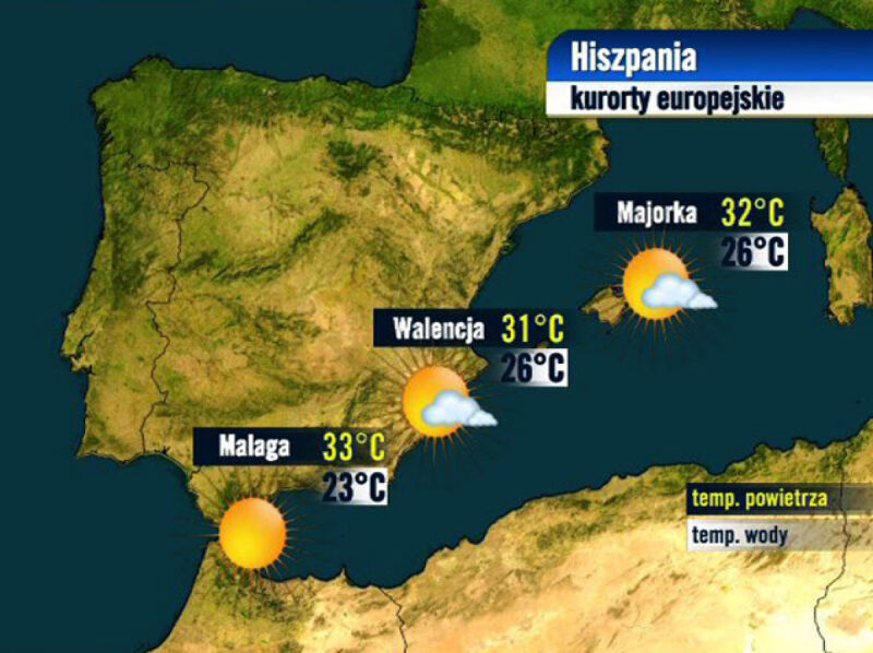 Prognoza pogody dla kurortów w Hiszpanii, 24.08