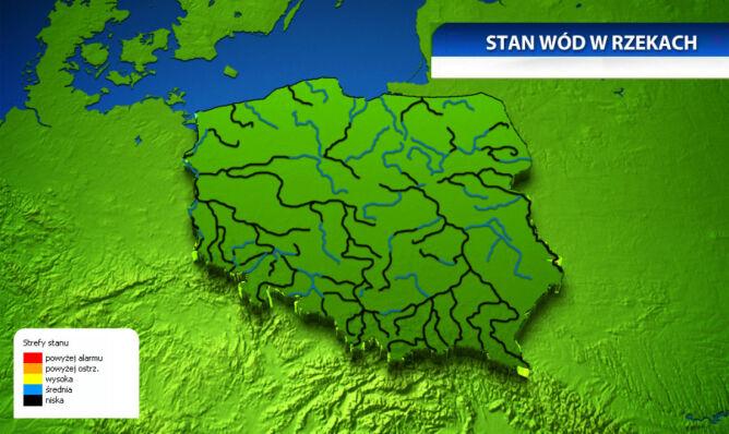 Stan wód w rzekach (na podstawie IMGW)
