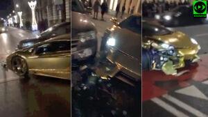 Złote lamborghini rozbite w centrum Warszawy