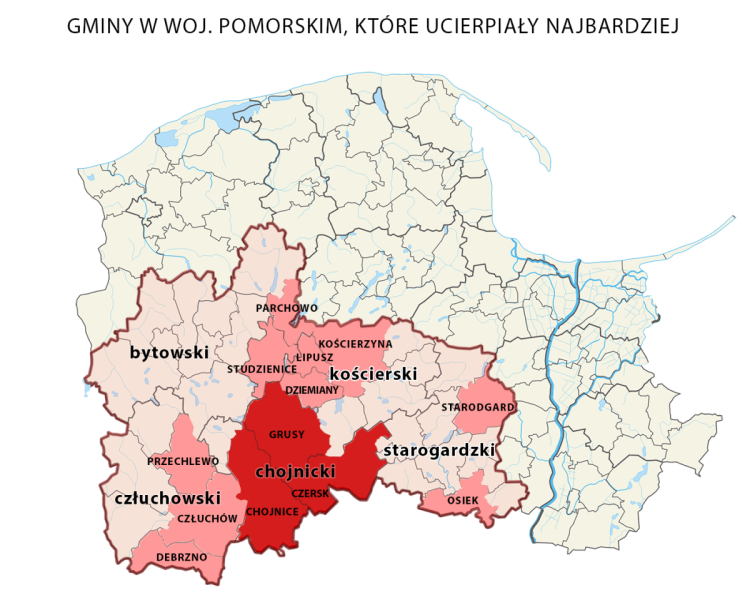 Interwencje po burzy w województwie pomorskim. Im ciemniejszy kolor, tym ich liczba jest większa
