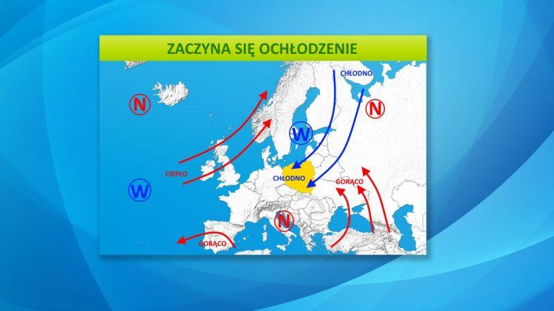Mapa pogodowa przedstawia cyrkulację powietrza
