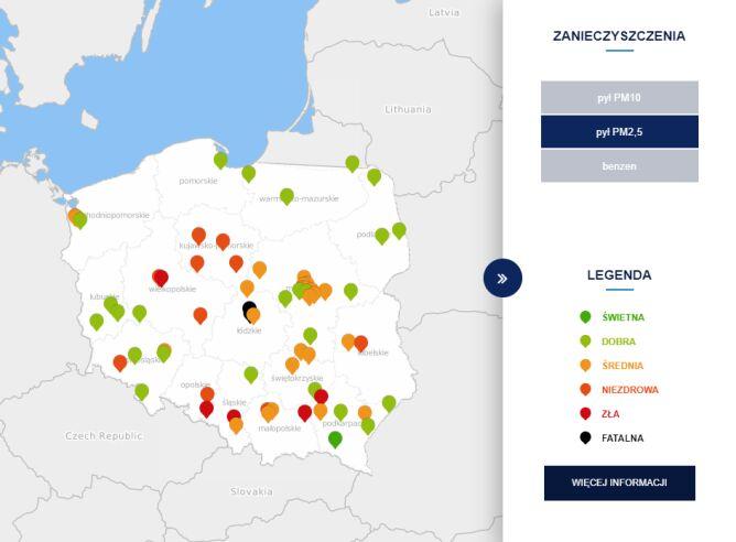Stężenie pyłu PM2,5 o godzinie 10 (tvnmeteo.pl za GIOŚ)