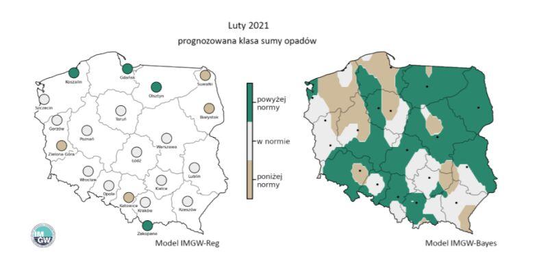 Prognozowana klasa miesięcznej sumy opadów w lutym 2021 r. według modelu IMGW-Reg i IMGW-Bayes