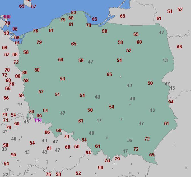 Aktualne porywy wiatru (wetteronline.de)